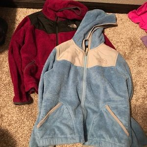 2 girls north face jackets